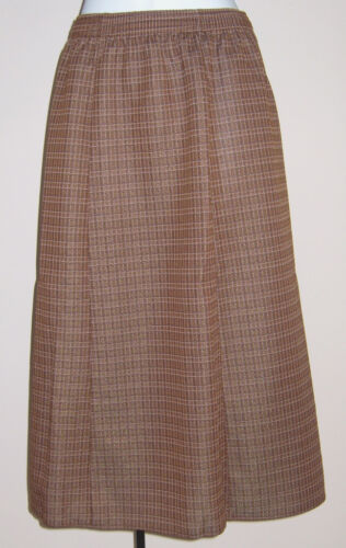 NEW LADIES SLIMMA BROWN CHECK PULL-ON SKIRT PLUS SIZES 18,24 /& 26