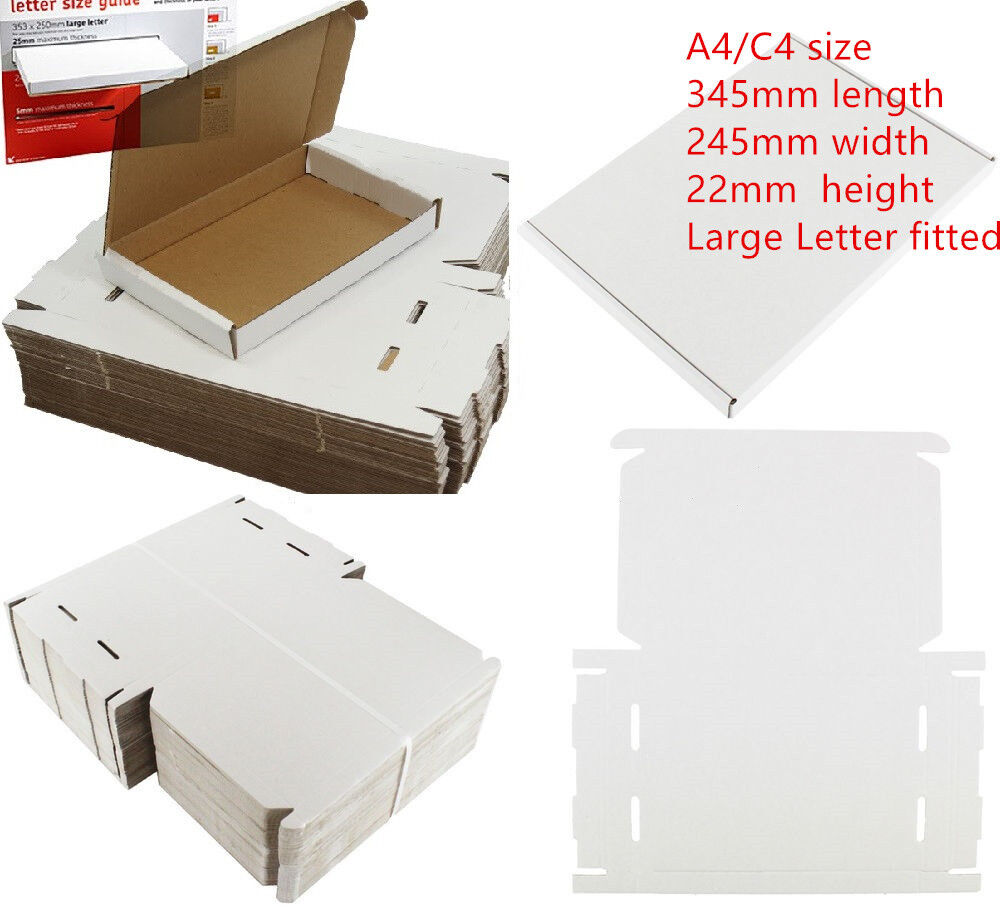 STRONG C4 A4 SIZE BOX 240x345x22mm ROYAL MAIL LARGE LETTER CARDBOARD SHIPPING