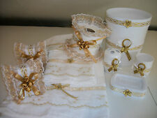10PCS WHITE AND GOLD BATHROOM ACCESSORIES SETS