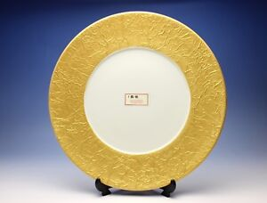 Image is loading Fine-Stoneware-Charger-Plate-Wide-Wrinkled-Gold-Rim- & Fine Stoneware Charger Plate Wide Wrinkled Gold Rim Wedding ...