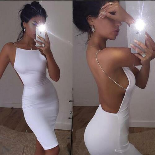 ⭐ blanc moulante Midi robe avec cristal bretelles Celeb style blogueurs 6-14 ⭐