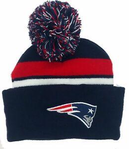 f702ed74fb6 Image is loading New-England-Patriots-Pom-Pom-Beanie-Hat-skull-