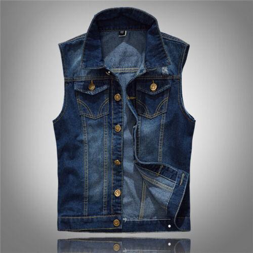 Herren Denim Weste Jeansblaue Weste Mode Jeansweste Mantel Größe M-5XL
