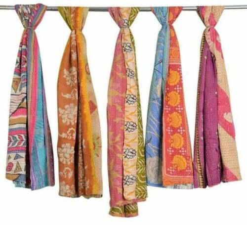 Wholesale Lot 5  Indian Kantha Cotton Scarves Bohemian shawl Stole FREE SHIPPING
