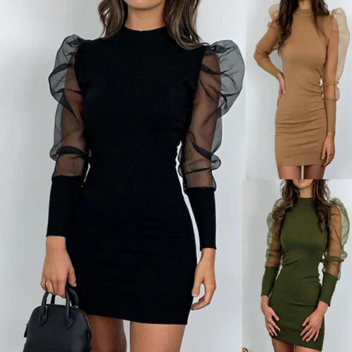 Fashion Women Vintage Bodycon Dress Slim Long Puff Sleeve Winter Dress New