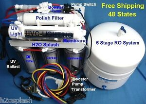 Reverse Osmosis System Ro 100 150gpd 6 Stage Di Uv Booster