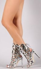 Metallic Exotic wear Caged Stiletto High Heels Open Toe Gladiator Sandals H179