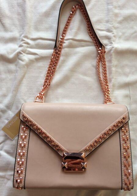 2d717b627bc9 NEW Michael Kors Whitney Leather Shoulder Handbag Soft Pink Rose Gold  378