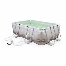 Piscine Tubulaire Corail grise, piscine rectangulaire 3x2m avec pompe de