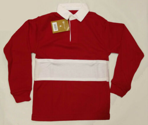 Kids Classic Casual Tops Rugby Top Long Ribbed Sleeved Collared T Shirts Size