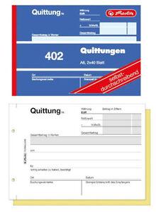 Herlitz Quittungsblock 402 A6 quer 2x40 Blatt