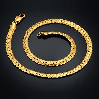 18k Goldkette Kette Edelstahl gold Halskette massiv Panzerkette Herren HOT SALE!