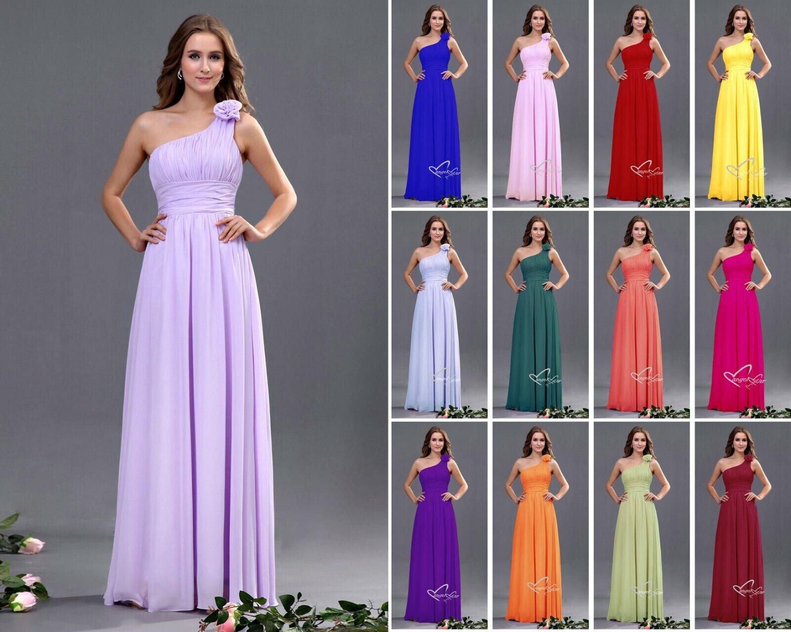 New Chiffon One Shoulder Floor length Evening Wedding Party Ball Grown Dress