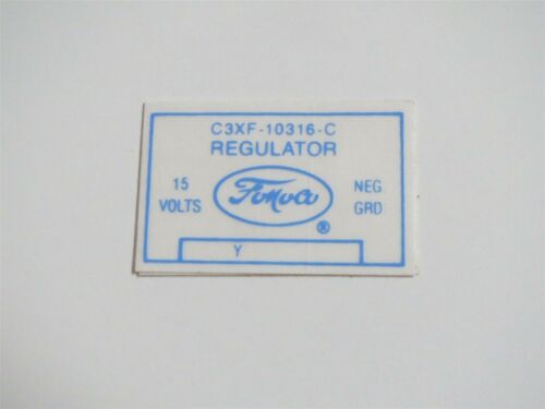 1963 LINCOLN CONTINENTAL AND MARK ALL VOLTAGE REGULATOR DECAL C3XF-10316-C