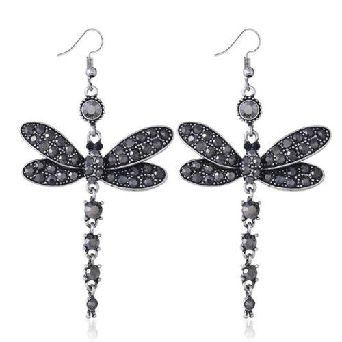 Woman Dragonfly Crystal Rhinestone Silver Plated Drop Dangle Hook /'Earrings GiHC