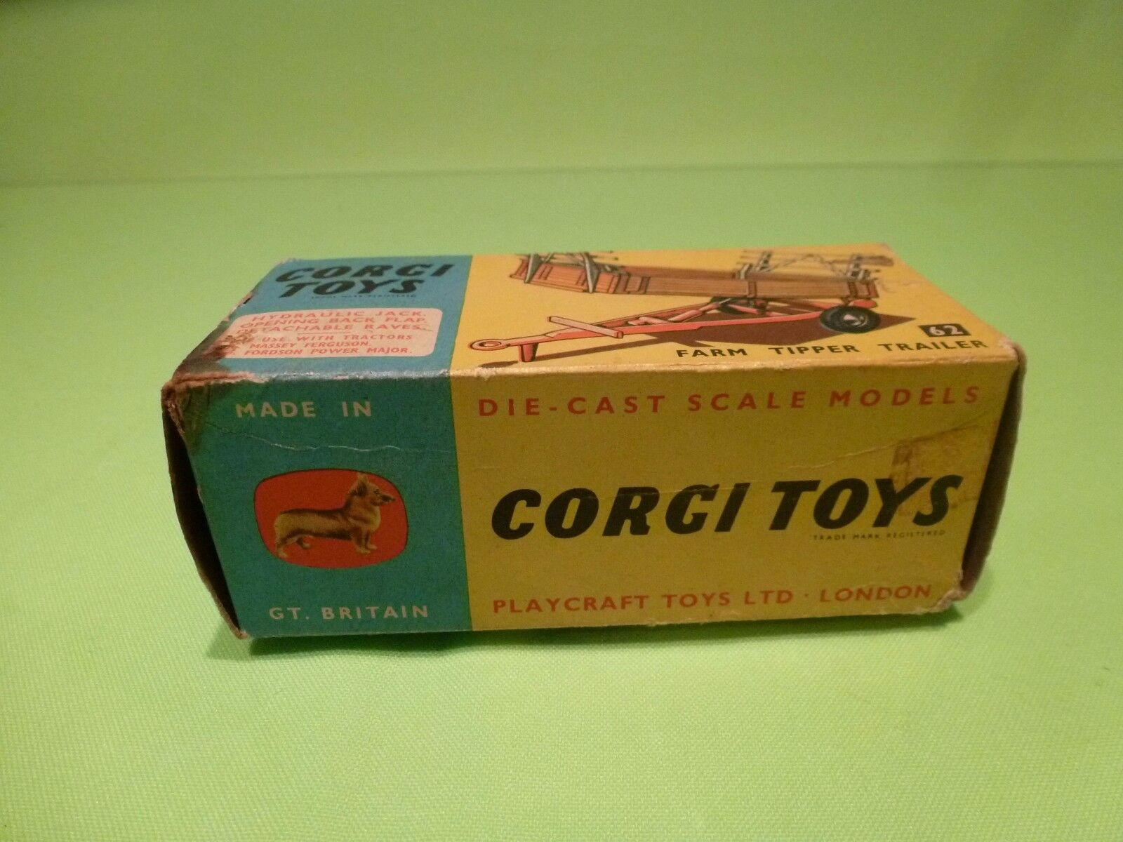 CORGI TOYS 62 BOX FOR FARM TIPPER TRAILER - NICE NICE NICE CONDITION - ONLY BOX ONLY BOX - 5dbc1d