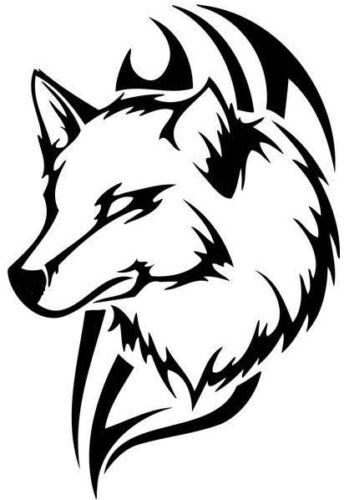 Grande Tête Loup Tribal Vinyle Graphique Autocollant Voiture Van Bonnet Côté Autocollant Wall Art