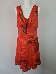 CUE Orange Cowl V-Neck A-Line Shift Sleeveless Dress Women's Size 10 AU MADE