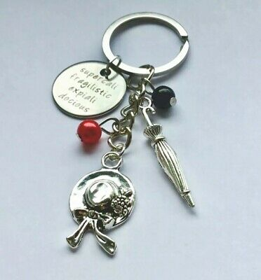 MARY POPPINS Vintage Colour Tibetan Silver Color Key ring mythical in gift bag