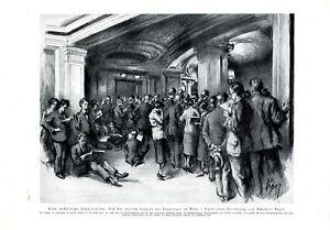 Staatsoper Wien XL Kunstdruck 1926 Vierte Galierie Zuhörer Publikum