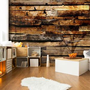 VLIES FOTOTAPETE Holz Bretter Holzwand braun TAPETE Wohnzimmer ...