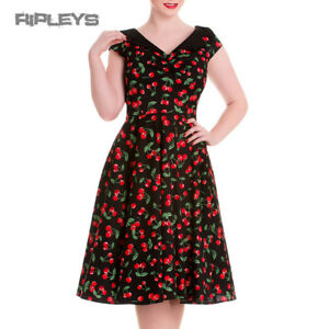 HELL-BUNNY-Pinup-Black-50s-Dress-CHERRY-POP-Pie-Rockabilly-All-Sizes