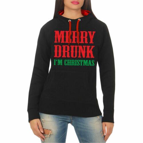 Frauen Kapuzenpullover Merry Drunk I/'m Christmas Weihnachten geschenk xmas fun