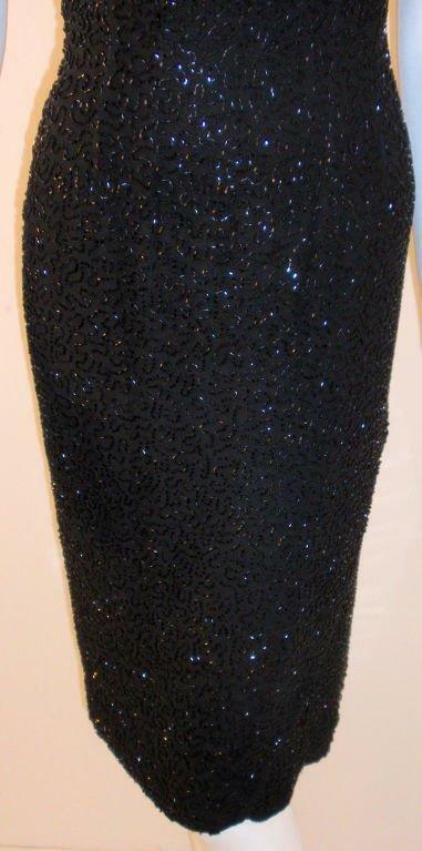 CEIL CHAPMAN 1960s Black Hand Beaded Cocktail Dre… - image 9