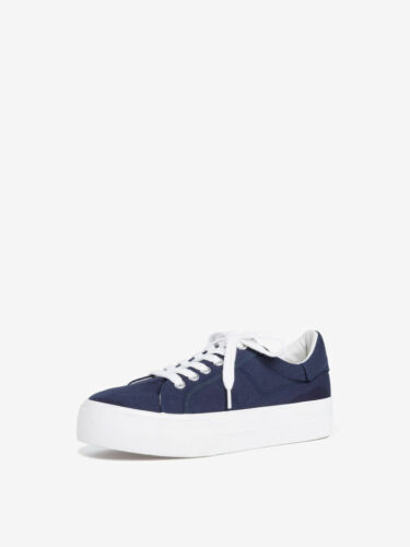 Tamaris 1-23602-24 Lace Up Plimsoll Sneaker Trainers in Black White Navy and Red