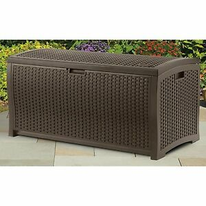 Pool Deck Box Patio Outdoor Resin Wicker Storage Chest