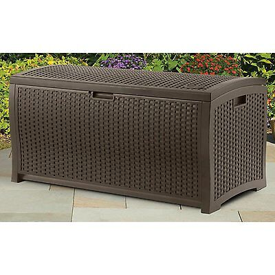 NEW Deck Patio Outdoor Resin Wicker Cushion Storage Box Bench Furniture Pool Gal