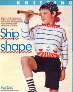 Children039s DK Nautical Boat and Anchor Motifs Sweater Vintage Knitting Pattern - Dunoon, United Kingdom - Children039s DK Nautical Boat and Anchor Motifs Sweater Vintage Knitting Pattern - Dunoon, United Kingdom