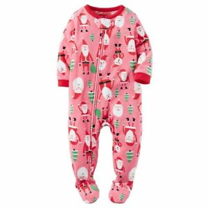 ef47b6042 Carters NWT 4T Toddler Santa Pink Tree Christmas Footed Fleece ...