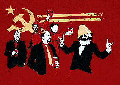 Communist Brooze Party Funny marx Drink Graphic Banksy Man Wars T-shirt L