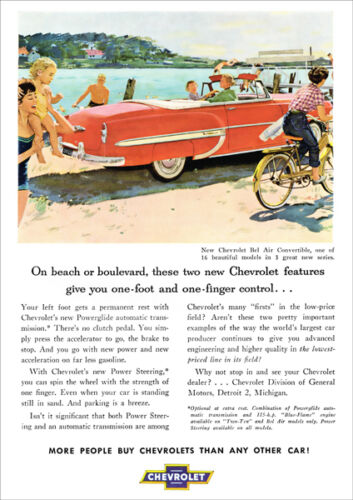 CHEVROLET 53 BEL AIR CONVERTIBLE RETRO A3 POSTER PRINT FROM ADVERT 1953