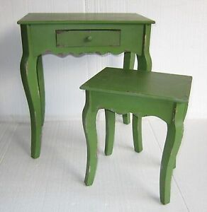 New-Industrial-Rustic-Shabby-Chic-Green-Cafe-Home-Retro-Bedside-Nesting-Tables