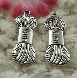 free-ship-36-pieces-Antique-silver-knitting-wool-charms-31x12mm-4176