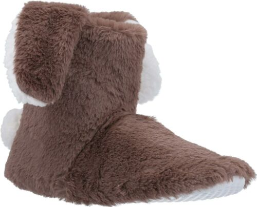 Divaz FLOPSY Ladies Womens Warm Cosy Bunny Novelty Bootie Slippers Pink//Taupe