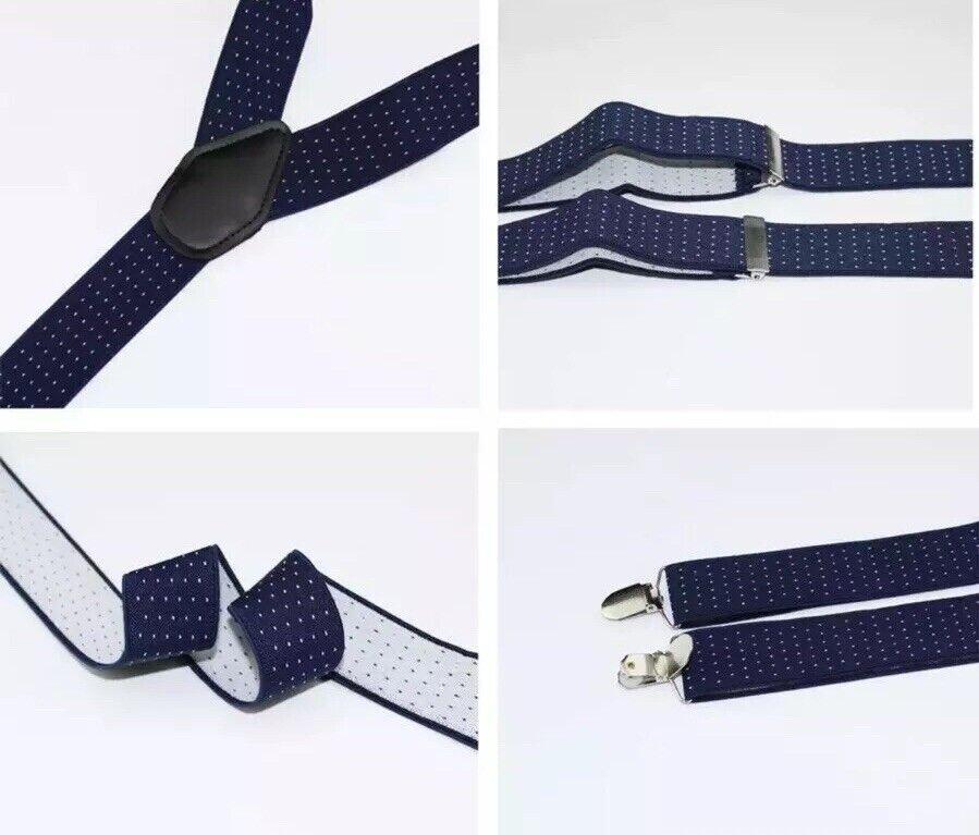 New Men's Braces Navy Blue Polka Dots Adjustable 3.5cm Wide Heavy Duty Clasps.
