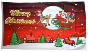 Fahne Frohe Weihnachten Schlitten rot Hissflagge 90 x 150 cm Flagge