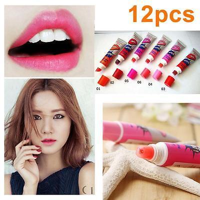 12 Waterproof Peel Off Mask Tint Tatto Lip Gloss Long Lasting Lipstick Makeup FT