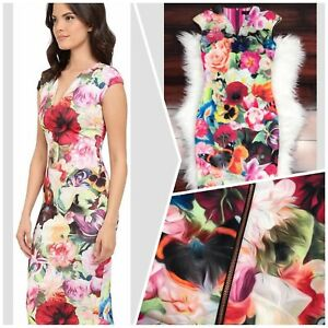 Ted-BAKER-Floral-Swirl-Bodycon-Sheath-ODEELA-Dress-Sz-1-uk8-BNWT-Rrp-159