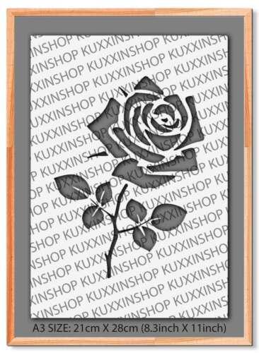 Rose Flower A5 A4 A3 Mylar Reusable Stencil Airbrush Art Paint #27A