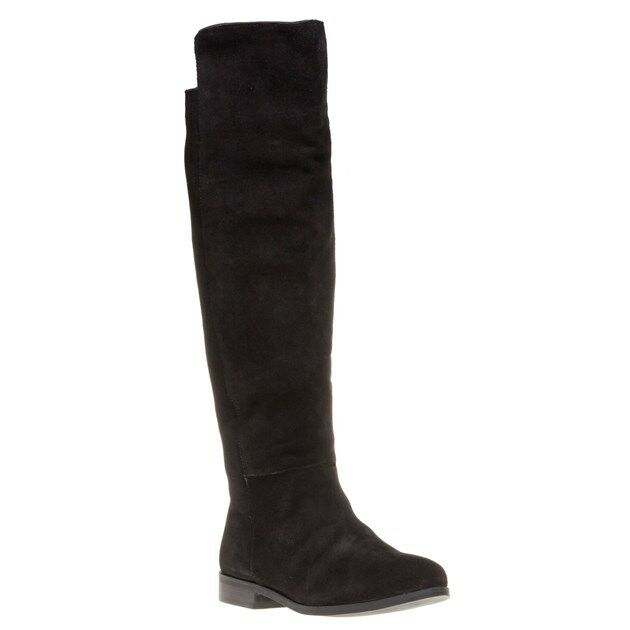 New Womens SOLE Black Ivy Suede Boots Knee-High Pull On