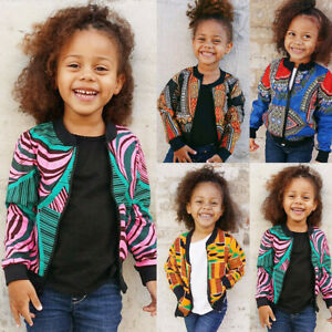 Toddler Girl Boy African Dashiki Long Sleeve Windproof Coat Warm Outwear Jacket