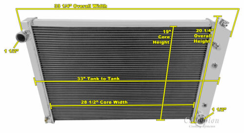 "3 Row Radiator 19 x 28-1//4 /"" Core 1973-91 Chevy Blazer CC716 Surburban"