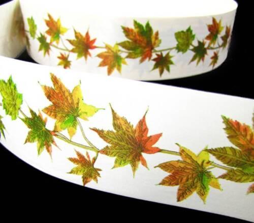 "10 Yards Autumn Fall Leaves Acetate Satin Ribbon 2 3//8/""W"