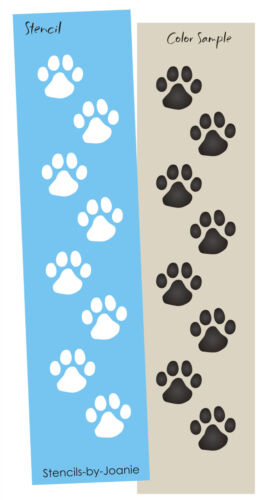 "Animal Stencil 1/"" Paw Prints Dog Cat Pet Border Frame Decor Art Signs You Paint"