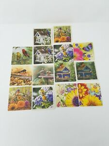 Vtg-bird-and-butterfly-assorted-beer-bar-coasters-man-cave-bar-ware-set-of-14