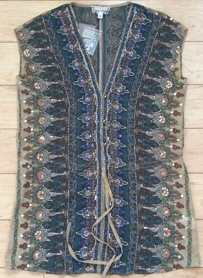 By Beyond Vintage Lawan Beaded Tunic Blouse Top Größe Small NW ANTHROPOLOGIE Tag